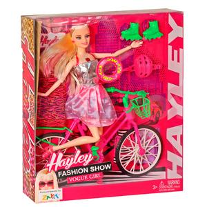 Muñeca Hayley Fashion Show Bicicleta Rollers Luz y Sonido