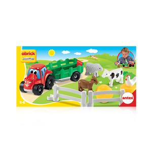Tractor Armable con acoplado y 4 animales