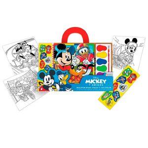 Set De Arte Mickey Personajes Maletin Acuarelas Stickers