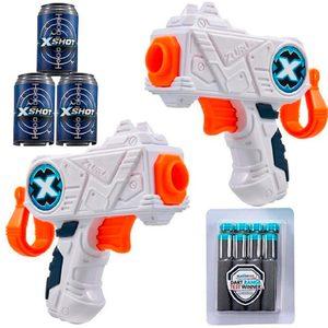 Mini Pistolas X Shot + 3 Latas Tiro al Blanco + 8 Dardos