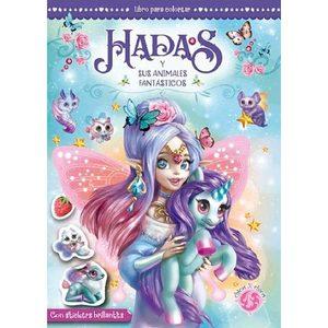 Libro para Colorear Hadas y sus Animales Fantasticos con Stickers Brillantes