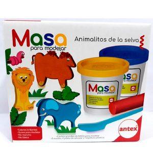 Masa para Modelar Animalitos de la Selva Antex 2 Potes 3 Moldes
