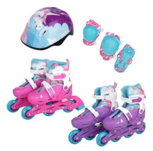 Rollers Patines 2 en 1 Unicornio Extensibles Bota + Casco + Protecciones