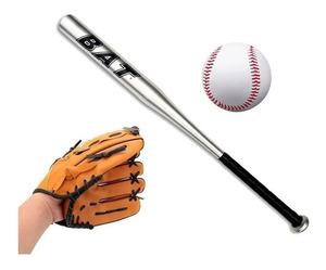 Bate Baseball Aluminio Con Guante Y Pelota