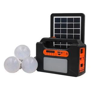 Kit Pantalla Solar con Parlante Bluetooth USB Power Bank Linterna Fm y Lamparas