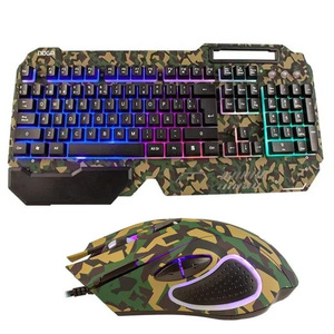 Combo Gamer Nkb 233 Teclado Mouse Camuflado Metálico Wasd Noga
