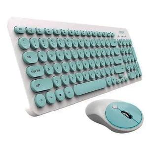 Kit de teclado y mouse inalámbrico Noga S5600 US de color blanco y verde
