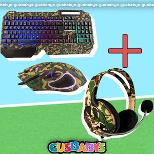 Kit Gamer Teclado+ Mouse + Auriculares Camuflados RGB
