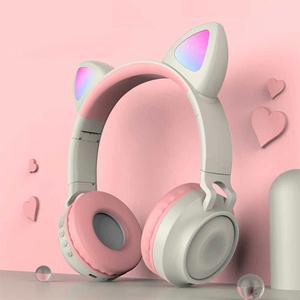 Auriculares Orejas Gato Con Bluetooth Luz Led Zw-028