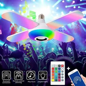 Lampara Led Parlante Bluetooth Rgb 4 Aspas Control Remoto