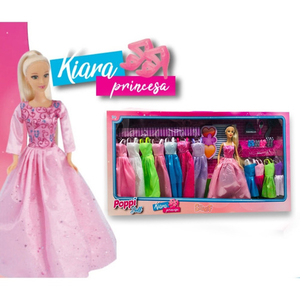 Muñeca Articulada Kiara Princesa + 10 Vestidos
