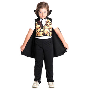 Halloween Disfraz Vampiro de Calaveras Chaleco + Capa + Pantalon