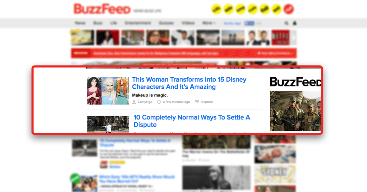 Examples of Buzzfeed headlines