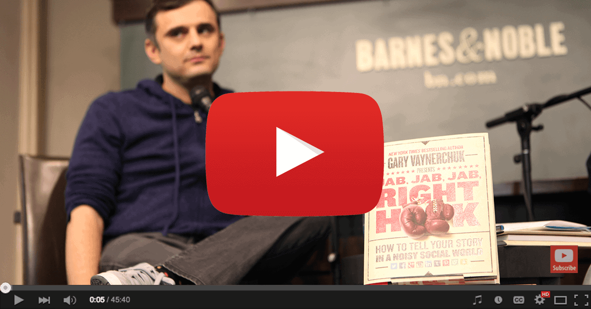 YouTube Video of Gary Vaynerchuk talking about Jab Jab Jab Right Hook