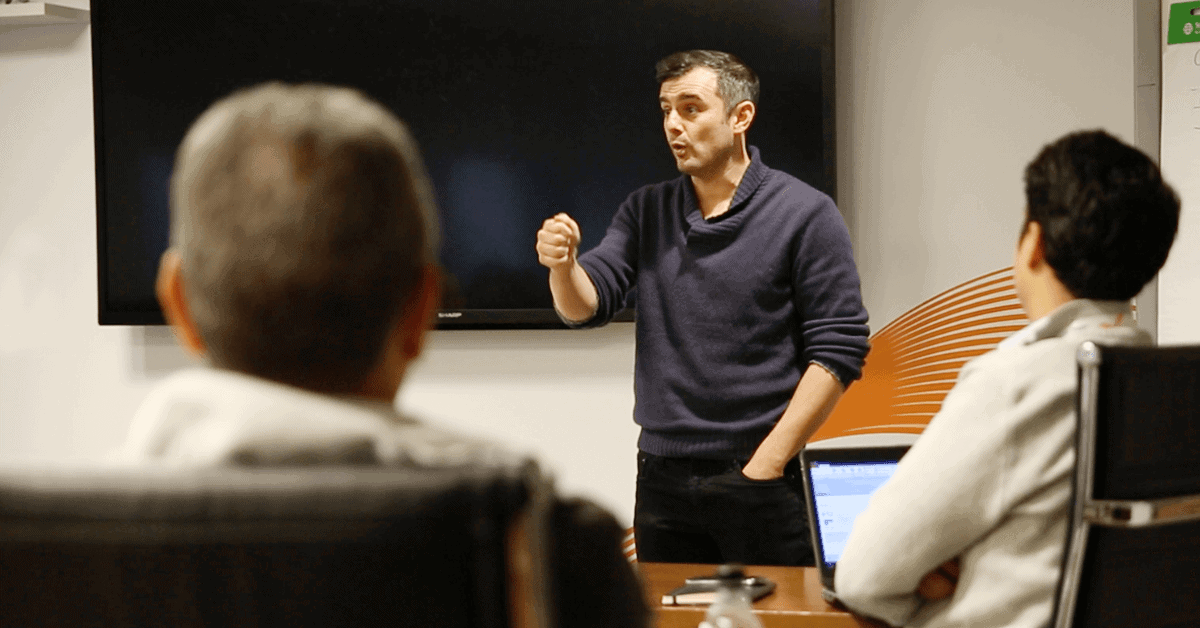 Gary Vaynerchuk gives a talk.