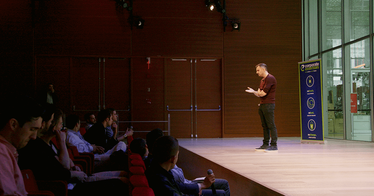 Gary Vaynerchuk giving a keynote speech to an audience