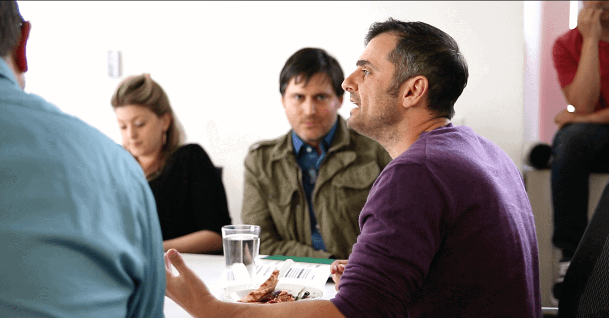 Gary Vaynerchuk in a meeting with his employees