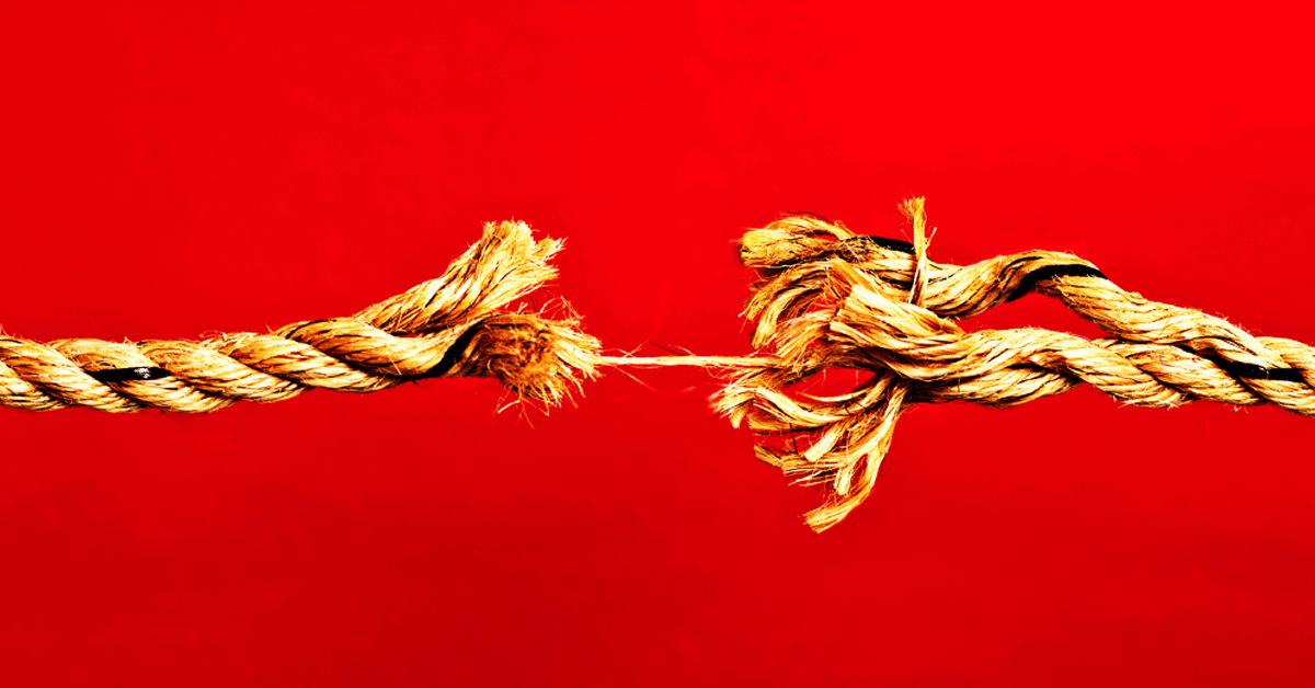 Rope snapping its last strand