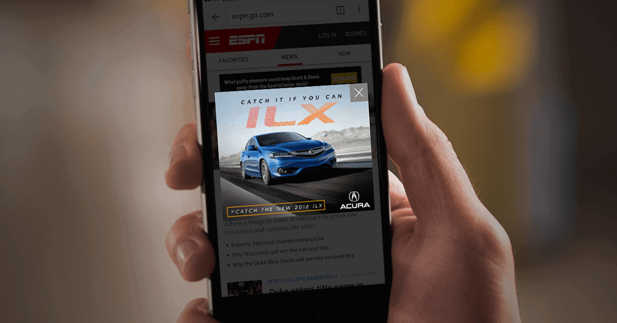 Acura pop-up ad on mobile
