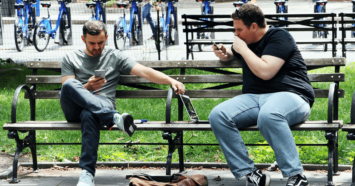 Gary Vaynerchuk and assistant Matt DeMayo in Downtown Manhattan
