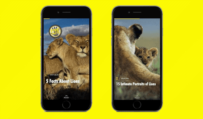 National Geographic created a story for its Snapchat Discover channel for World Lions Day in August, 2015
