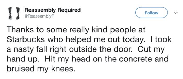 kind people at Starbucks helped me