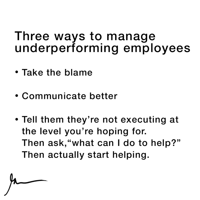 managing employees who are underperforming