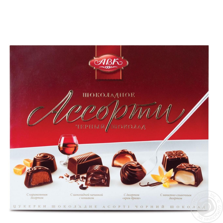 Конфеты АВК Ассорти черный шоколад 200г