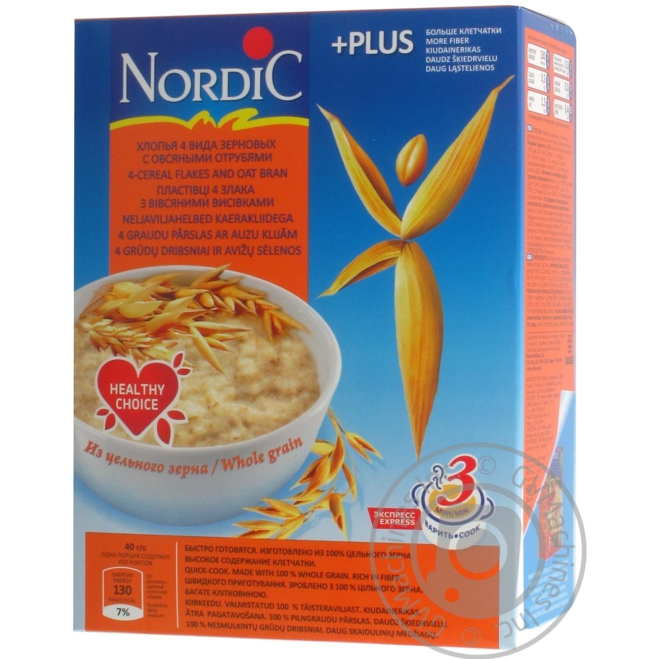 Хлопья злаковые Нордик 4 вида зерновых с овсяными отрубями 600г