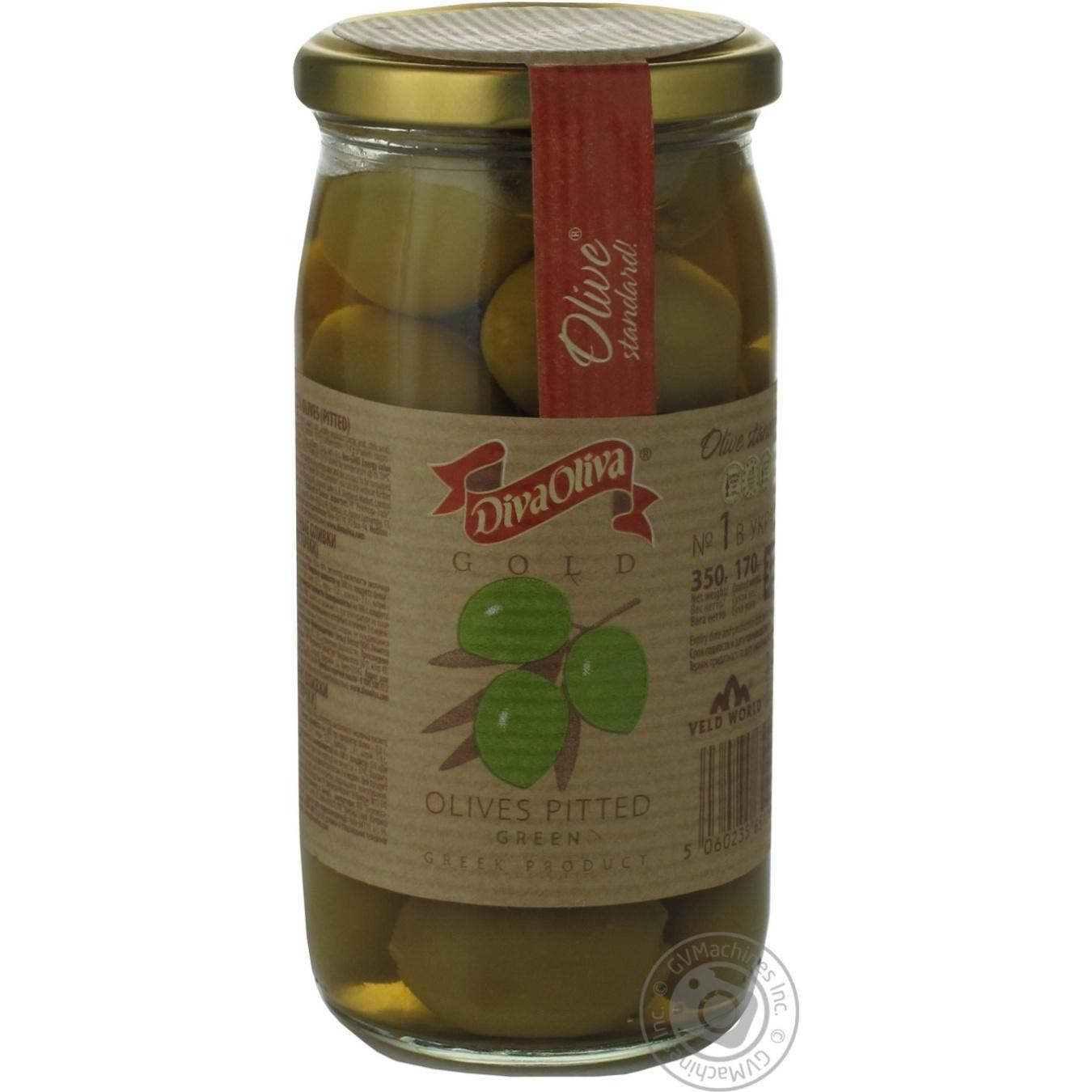 Оливки DivaOliva зеленые без косточки стеклянная банка 370мл