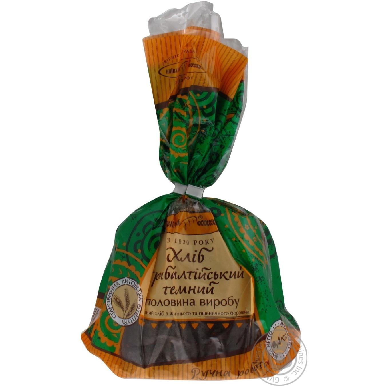 Хлеб КиевХлеб Прибалтийский темный заварной ржано-пшеничный половинка 400г