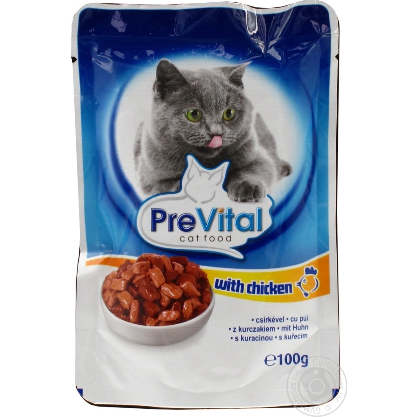Консервированный корм для взрослых котов PreVital с мясом курицы 100г