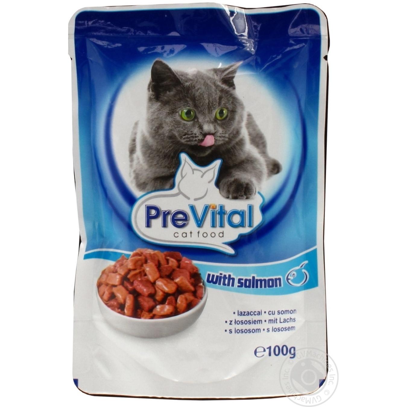 Консервированный корм для взрослых котов PreVital с кусочками лосося 100г