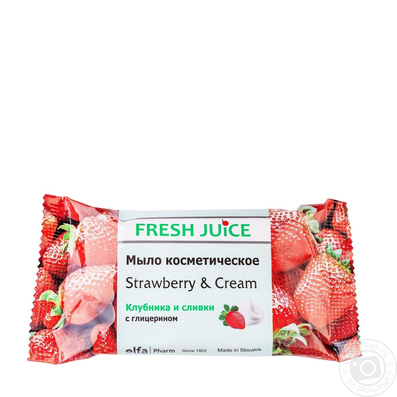 Мыло косметическое Fresh Juice клубника и сливки 75г