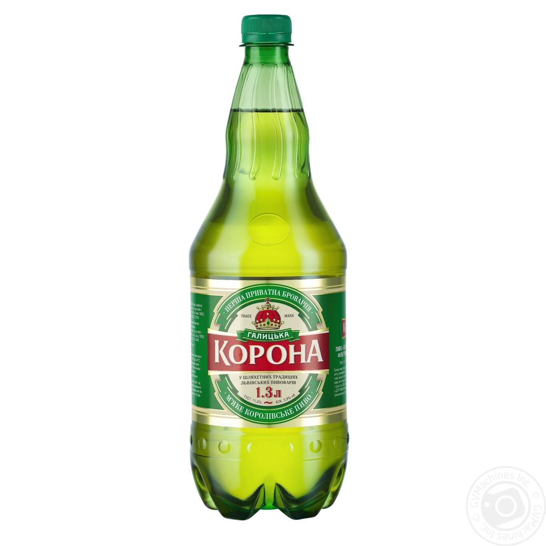 Пиво Галицкая Корона светлое пастеризованное 3.9%об. 1300мл