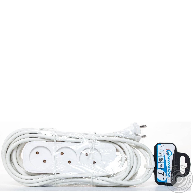 Удлинитель электрический Electraline белый без заземления 3 гнезда 7м