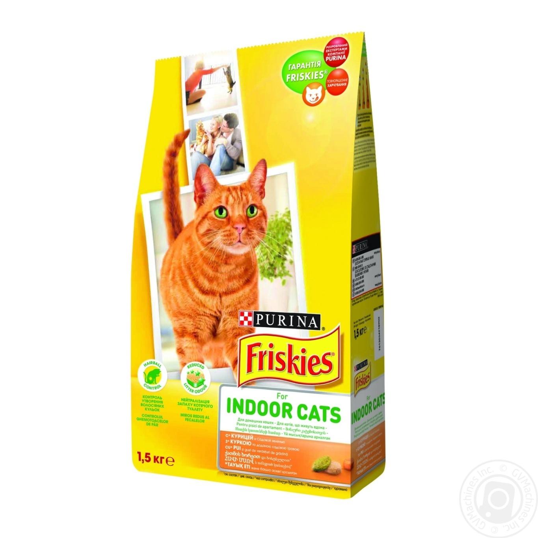 Корм сухой Friskies Indoor С курицей и садовой травой для взрослых котов 1500г