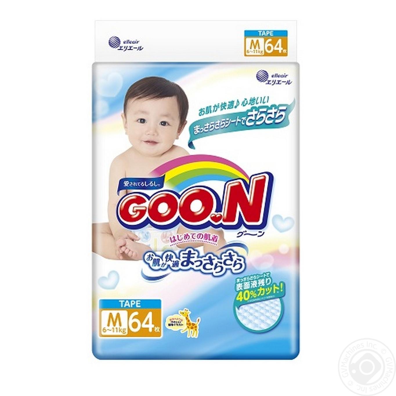 Подгузники GOO.N для детей 6-11кг размер M на липучках унисекс 64шт