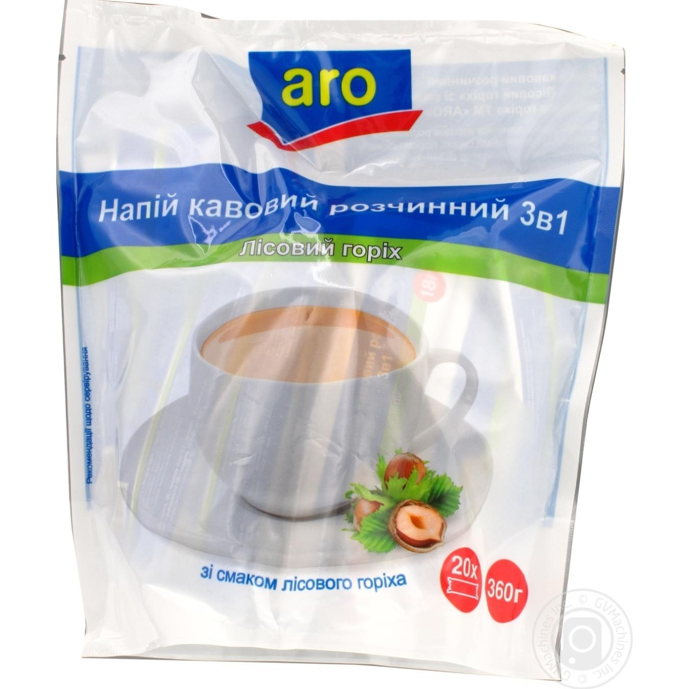 Напиток кофейный Aro растворимый 3в1 лесной орех 20шт*18г