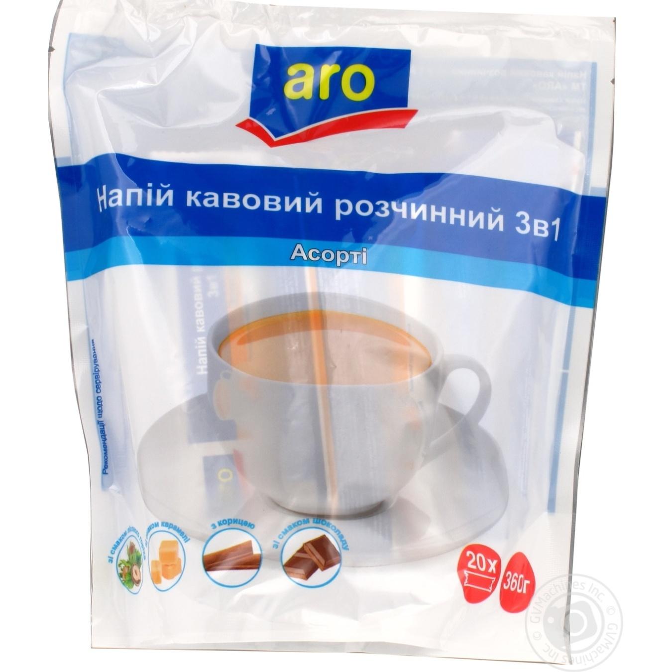 Напиток кофейный Aro растворимый 3в1 ассорти 20шт*18г