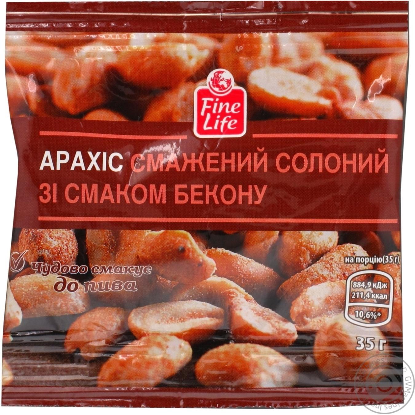 Арахис Fine Life жаренный соленый со вкусом бекона 35г