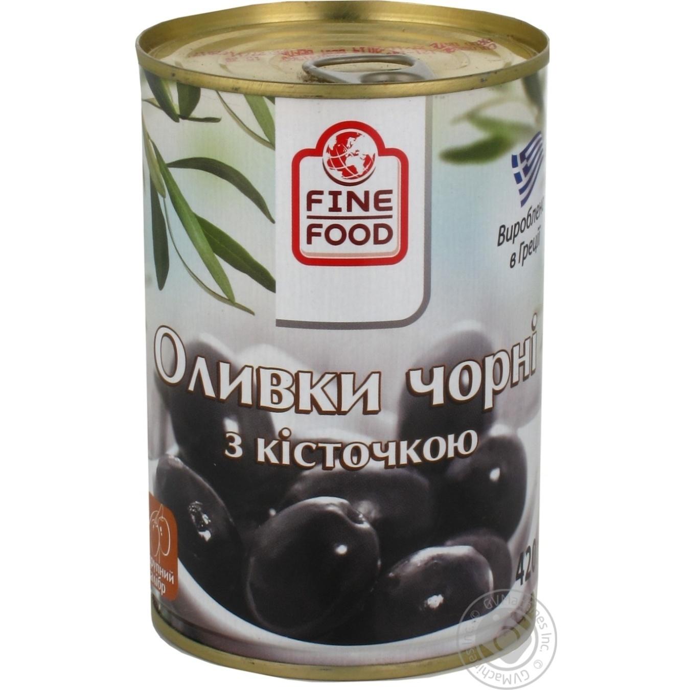 Оливки Файн Фуд черные с косточкой