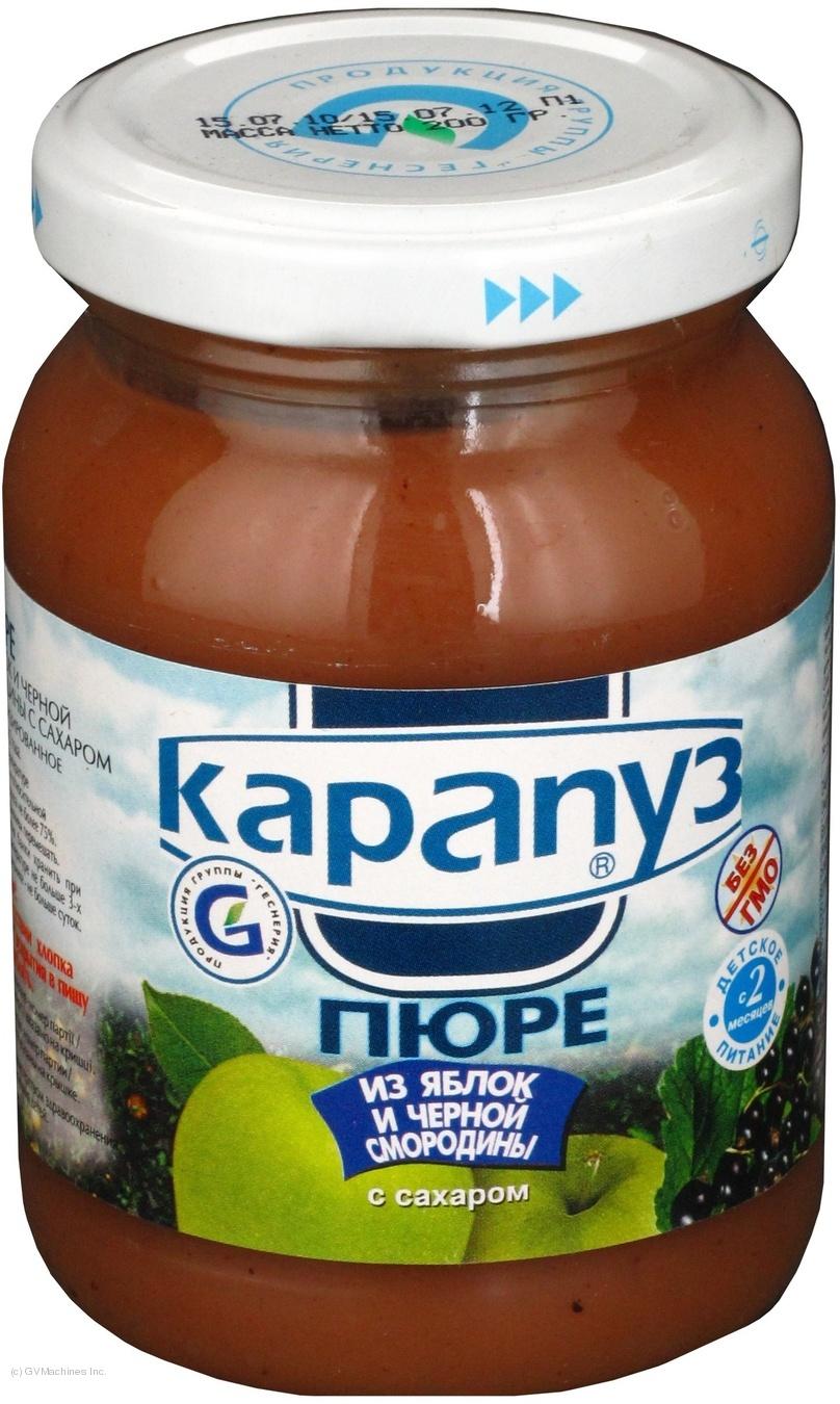Пюре Карапуз из яблок и черной смородины с сахаром детское с 2 месяцев 200г