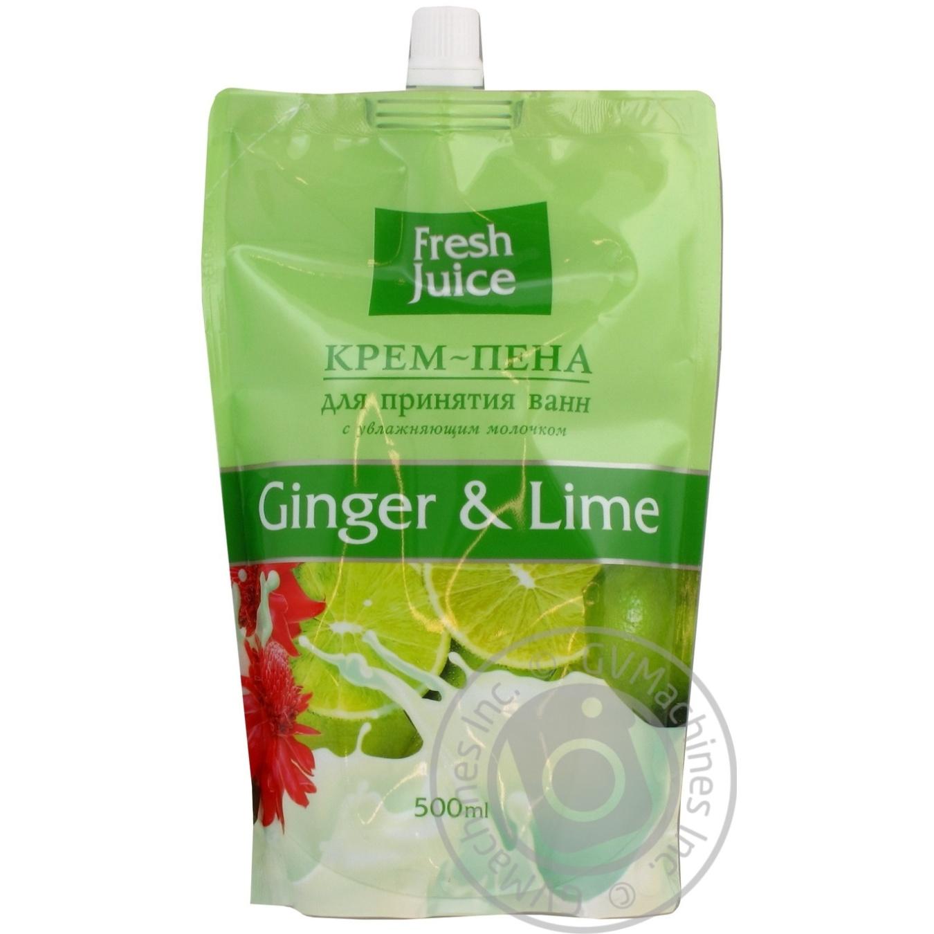 Крем-пена для принятия ванн Fresh Juice Имбирь и лайм дой-пак 500мл