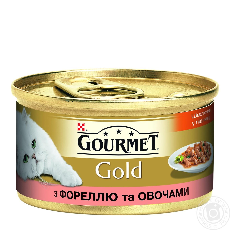 Корм GOURMET Gold С форелью и овощами в подливке для взрослых кошек 85г