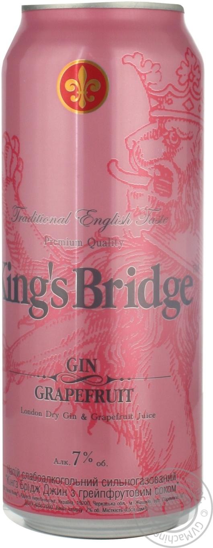 Напиток слабоалкогольный Кингс Бридж Джин Грейпфрут 7%об. 500мл