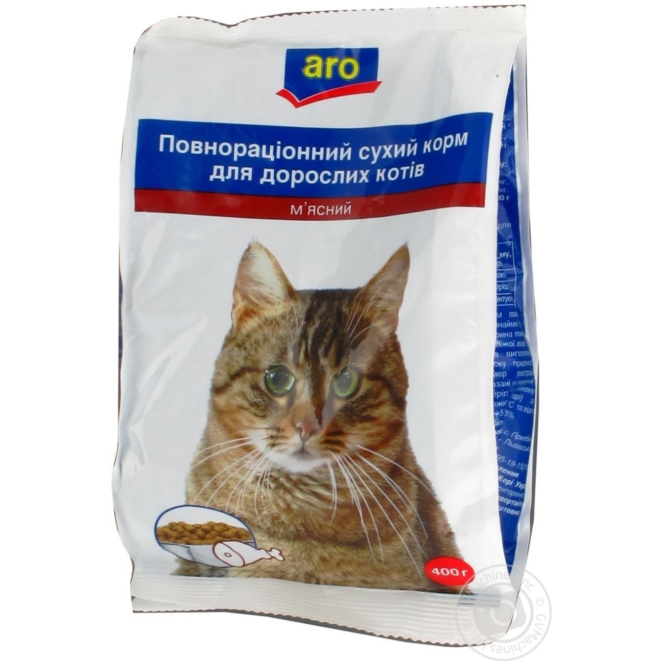 Корм Aro сухой полноценный с мясом для котов 400г