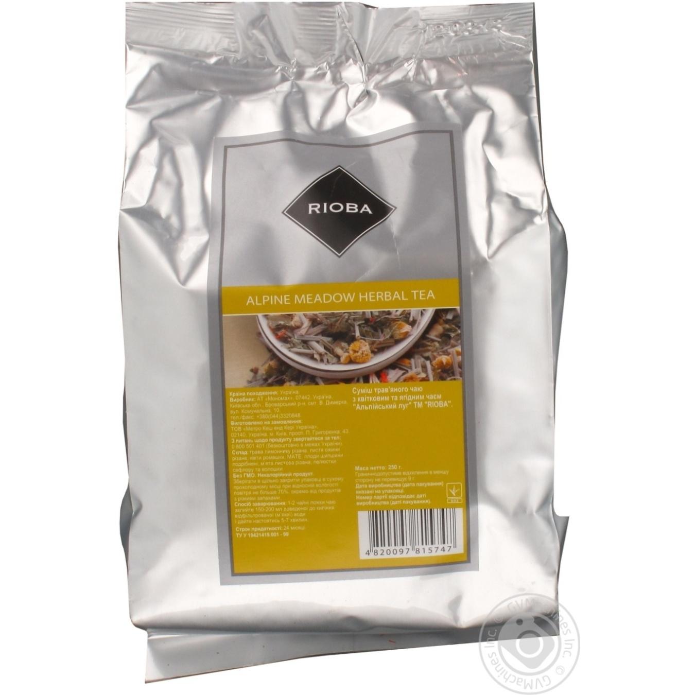 Чай Риоба Альпийский Луг травяной с цветочным и ягодным чаем 250г