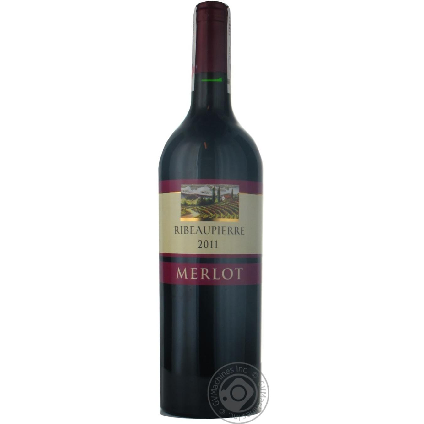 Вино красное Ribeaupierre Merlot сухое 12.5% 750мл год урожая в ассортименте