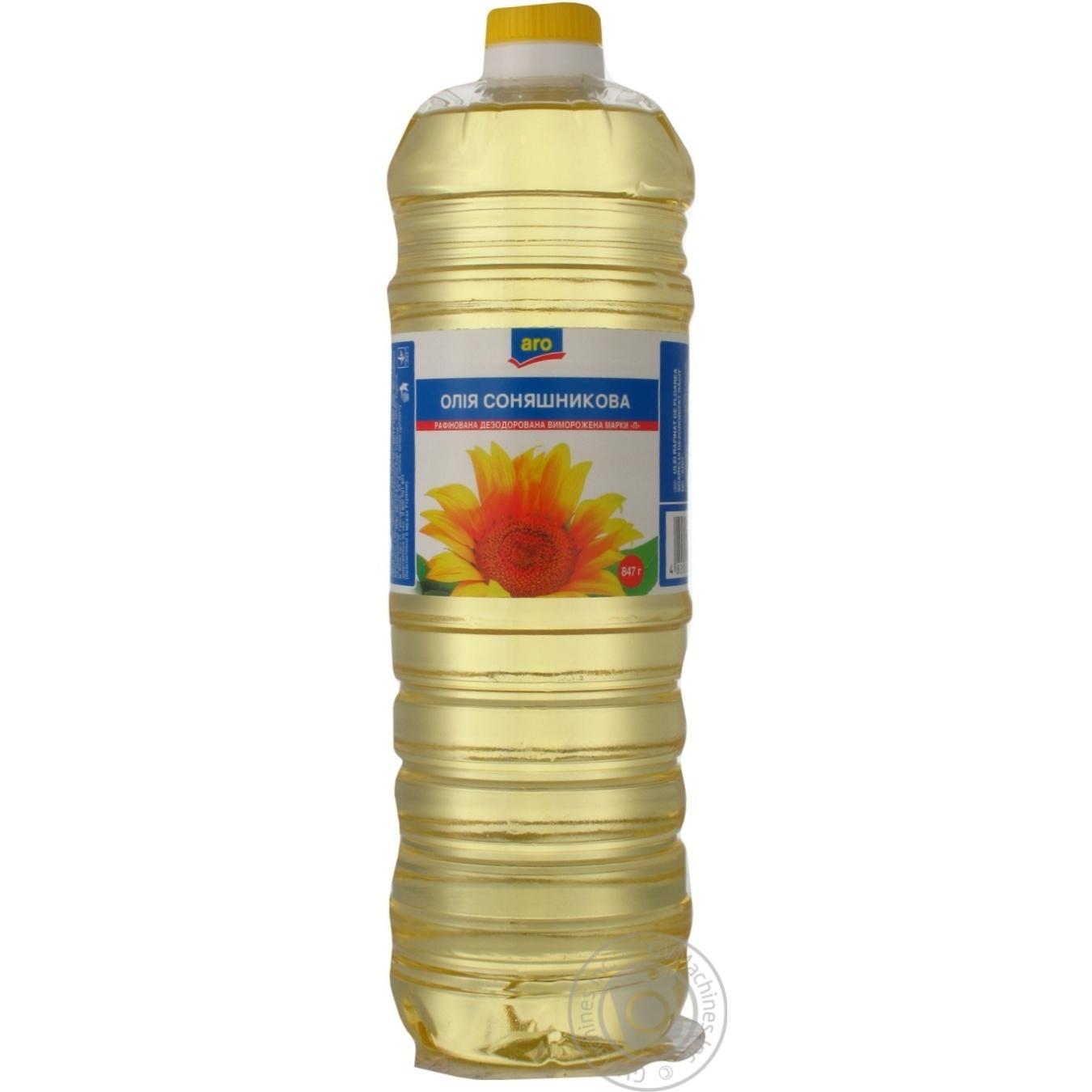 Масло подсолнечное Aro рафинированное 870мл